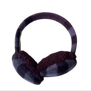 BURBERRY Women's Cashmere/Wool Trim Purple Plaid Earmuffs - Excellent Condition